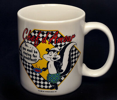 Vintage 1991 Chef Pepe Le Pew Warner Bros. Looney Tunes Coffee Mug Cup