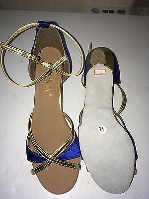 Ladies Blue and Gold Salsa Shoes - size 6