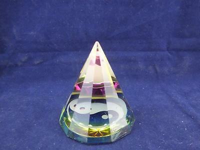 Crystal Esoteric Glass Yin Yang Pyramid Ornament Paperweight.