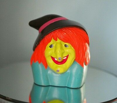 """Vintage 1980 Witch Halloween pottery ceramic Colorful HTF 5"""" tall Planter Candle"""