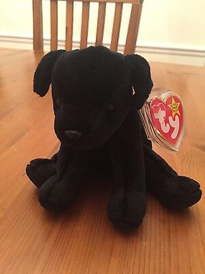 Ty Beanie Babies Luke the Black Labrador puppy with bow new with tags