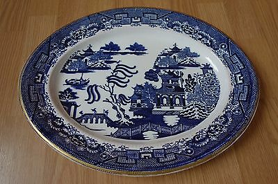 Antique English Blue Willow Platter 16.5 Inch Davenport Longport Staffordshire