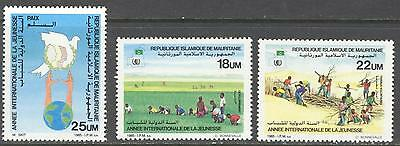 MAURITANIA, SC 593-95, 1986 International Youth Year. MNH. CV $3.20