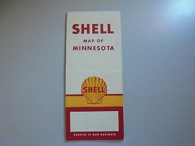 Shell Oil Advertising Promotional Map of Minnesota Vintage 1958