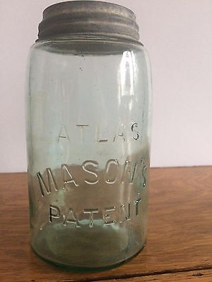 One Vintage Mason  Blue Green Glass One Quart  Canning Jar/ Zinc & Porcelain Lid