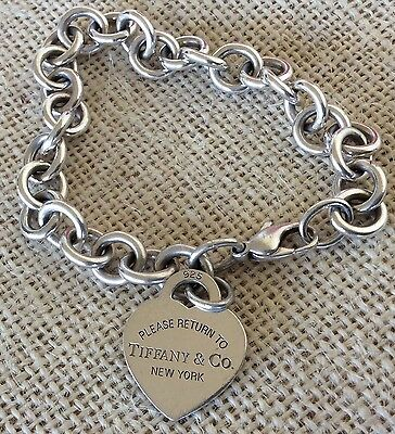Tiffany and Co Sterling Silver Return To Tiffany Bracelet Tag Charm Love Heart