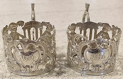 Hallmarked 1906 Sheffield Tea Cup Glass Holders Antique Silver Pair Of