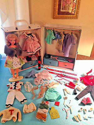 Ideal Tammy Doll Platinum Blonde Vtg 60s Clothing Snow Bunny Case Accessories
