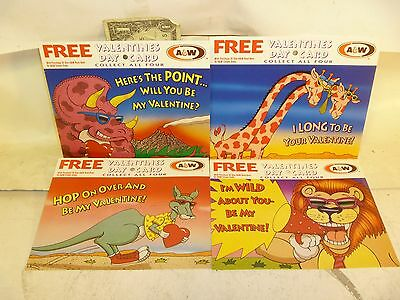 Free Shipping***4 Old A & W Post Cards Never Used Root Beer Soda