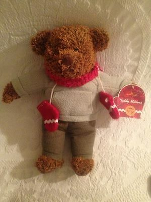 12' Hallmark Christmas Plush Teddy Bear with Red Mittens and Scarf