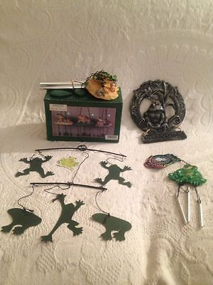 NEW Lot Frog Collectibles Windchimes Metal Mobile Welcome Sign