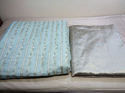 Antique Damask Upholstery Fabric Lot Celery Stripes