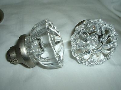 Antique Clear Glass Door Knob Set - VINTAGE  Style With Stainless Steel Hardware