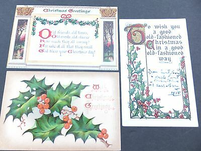 Christmas Greetings Raphael Tuck & Sons , early 1900's, set of 3, 508, 520,538