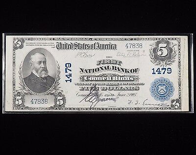$5 The First National Bank of Council Bluffs Iowa Note Series 1902 Plain Back