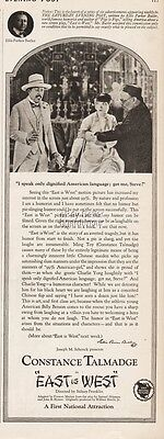 1922 Constance Talmadge First National Pictures East Is West Ellis Butler Ad