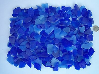 Beach Sea Glass Surf Tumbled Blue  Lot Over 200 Pieces