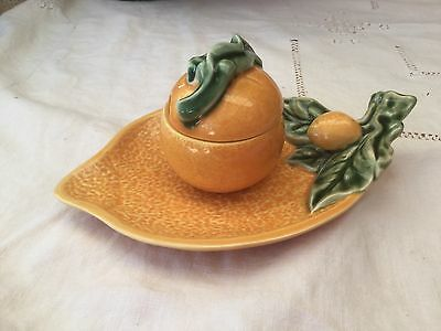 """Bordallo Pinheiro"" Portuguese Majolica Lidded Marmalade/Jam Pot and Plate"