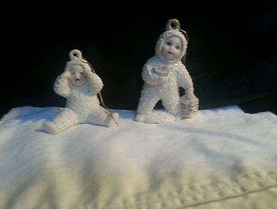 Vintage 1995 Snowbabies Set of Two Hanging Ornaments