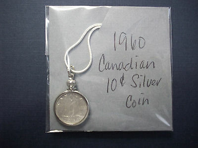Rare, Antique,Money, Coin 1960 Canadian Silver dime on chain.#W90
