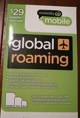 Woolworths mobile global roaming sim $10 credit included FREE POST