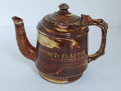 """Antique Red Ware English Trailed, Marbleized and Combed Teapot """"Harriet Clapton"""""""
