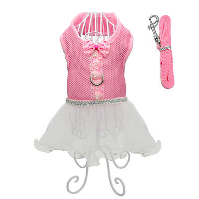 Mesh Cat Dog Dress Skirt with Bow Tie Lace Vest Harness Leash Dog Clothes Pink L