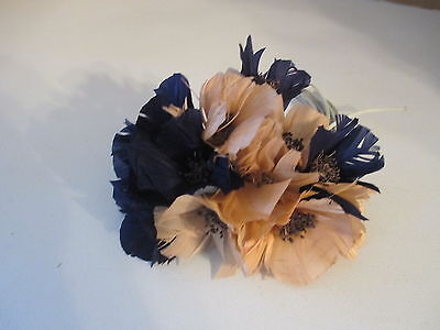 "Vintage 6"" Navy Blue Peach Flower Millinery Feathers Women's Hat Accessory"