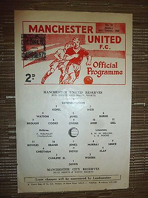 1966/67 Football Programme: Manchester Utd Res. v Manchester City. Res. 20th Jan