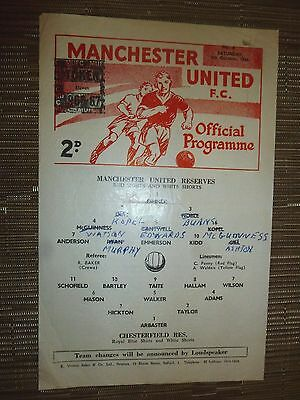 1966/67 Football Programme: Manchester Utd Res.v Chesterfield Res- 8th Oct.