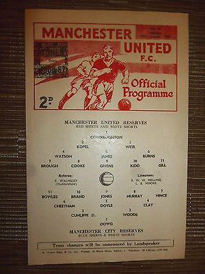 1966/67 Football Programme: Manchester Utd Res. v Manchester City. Res- 20th Jan