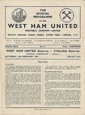 1954/5 West Ham United v Chelsea - Football Combination 12.2.55