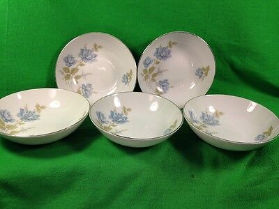 Barker Bros China 5 Soup Cereal Bowls 63-3700 Japan White Blue Flowers Silver