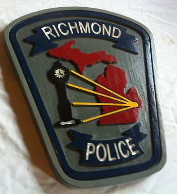 Police Department Richmond 3D routed carved plaque wood  patch Sign Custom