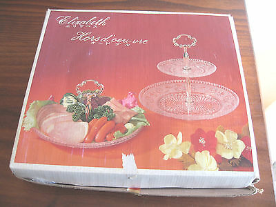 Lovely Hasegawa  Elizabeth 2 Tier Glass Serving Plate Hors D'oeuvre  Excon Bnib