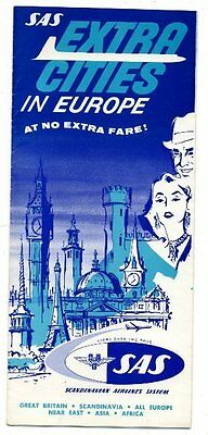 1950s SAS  EXTRA CITIES in EUROPE Fold-out Brochure SCANDINAVIAN AIRLINES SYSTEM