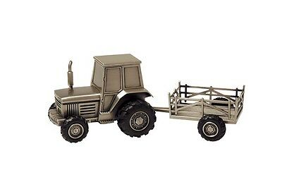 New pewter Money Box Tractor and Trailer christening, birth, new baby gift, NEW!