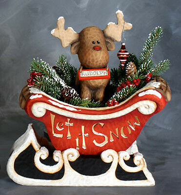 Ceramic Bisque Ready to Paint Sleigh and Rudolph with electric