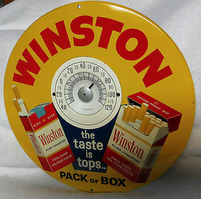 """1960's Winston """"The Taste is Tops"""" Button Thermometer, Sartin Adv. Exc++ Cond!"""