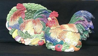 Fitz & Floyd Coq Du Village Soup Tureen And Platter *new In Box*