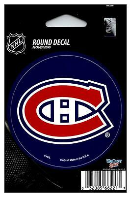 """(HCW) Montreal Canadiens 3"""" Round Vinyl Decal Sticker NHL Licensed *FREE SHIP"""
