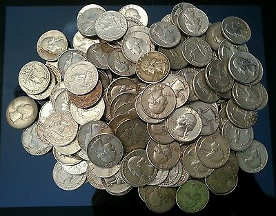 Lot of 100 Silver Washington Quarters (Random Dates 1932-1964) - Free Shipping!