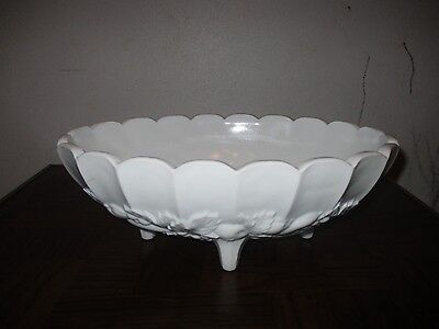 Vintage Milk Glass Footed Fruit Bowl-Heavy-Nice cond.
