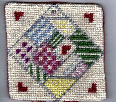Pin Cushion - Patchwork Needlepoint - Handmade