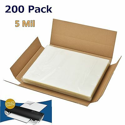 """200 Qty Clear Letter Size Heat Thermal Laminating Pouches 9"""" X 11.5"""" Sheet 5 Mil"""