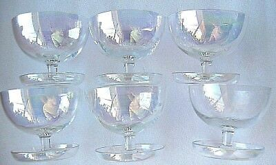 SIX (6) AURORA CRYSTAL PEDESTAL  BOWLS. Beautiful Perfect