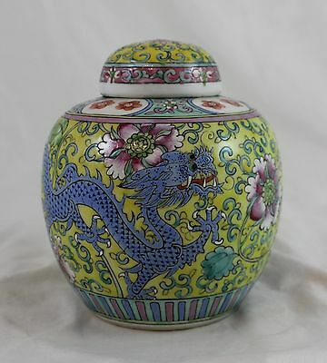 Antique Chinese Famille Rose Dragon Republic Period Porcelain Ginger Jar c1920