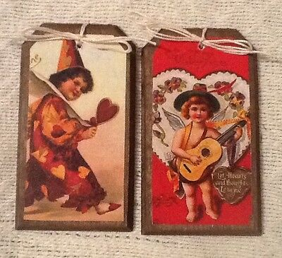 5 Handcrafted Wooden Valentine's Day Ornaments/HangTags SO CUTE!! Set.56
