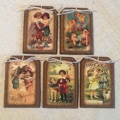 5 Wooden Valentine's Day Ornaments/HangTags/GiftTags VINTAGE STYLE Set811