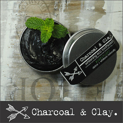 >> 2 x 45g CHARCOAL TOOTHPASTE Natural whitening  Organic OZ made 100% natural